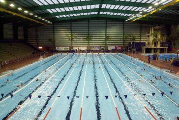 Internationale Sportteams trainieren in Vecindario Heute Vorführung der schweizer Synchronschwimmerinnen