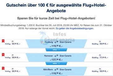 Angebote von TuiFly für Gran Canaria oder gleich Kombiangebot von Expedia (100€ Rabatt winken!)