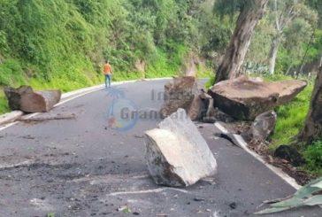 GC-211 in Teror wegen schwerem Felsrutsch ebenfalls voll gesperrt
