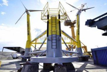 Neuer Windkraftprototyp, schwimmend, mit 2 Turbinen wird vor Jinamar installiert