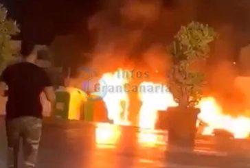 Vandalismus in Playa del Inglés: Müllcontainer angezündet - Fahrzeug und Container zerstört