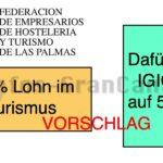 FEHT garantiert: 2% mehr Lohn wenn die IGIC auf 5% für den Tourismus festgelegt wird