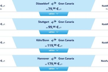 Sun Canaria? Jetzt wieder Angebote von TuiFly für Flüge nach Gran Canaria ab 39,99 € sichern!
