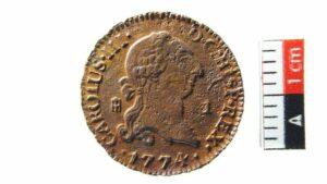 Eine alte Münze der Kanaren