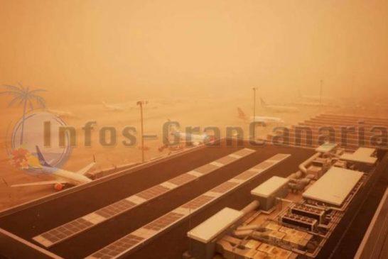 3 Flughäfen auf den Kanaren wegen Calima seit ca. 19 Uhr gesperrt