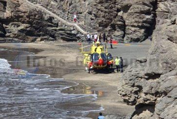 Hubschraubereinsatz am Strand La Pirata (San Agustín)