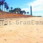 Neuer kurzlebiger Sandstrand westlich des Leuchtturms Maspalomas