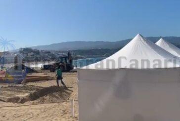 Baubeginn der Sandkrippe Las Palmas - Begrenzungen durch Pandemie in diesem Jahr