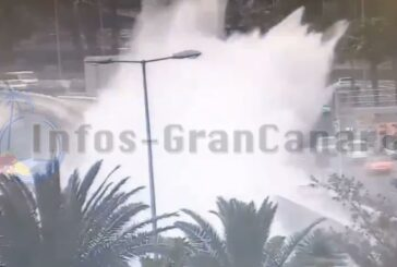 Massiver Wellengang beschädigt Promenade der Av. Maritima in Las Palmas