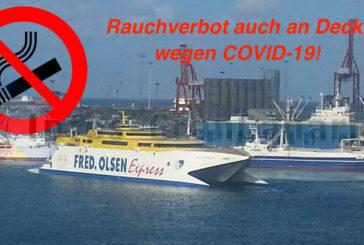 Absolutes Rauchverbot nun bei Fred Olsen, auch an Deck, wegen COVID-19...