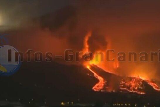 Vulkanausbruch La Palma 19 September 2021 in der Nacht